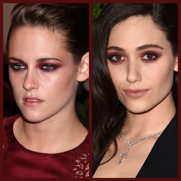 As atrizes Kristen Stewart e Emmy Rossum usaram o marsala para destacar o olhar. !(Imagem: Pinteres/BeautyEditor e Pinterest/Harper's BAZZAR)