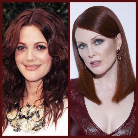 Drew Barrymore e Julianne Moore abusam do tom marsala não só no blush, mas também no tom do cabelo. (Imagem: Pinterest/beautylaunchpad.com e lorealparis.com