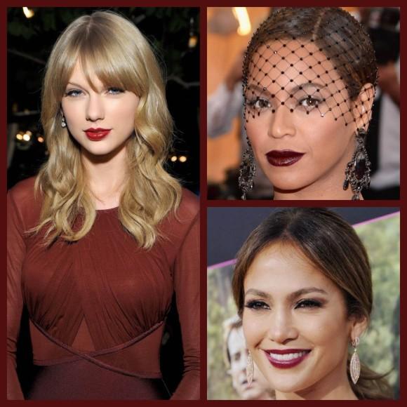 Taylor Swift, Beyoncé e Jennifer Lopez: marsala sempre presente nas festas e eventos. (Imagens: Pinteres/Harper's BAZZAR e Cosmopolitan)