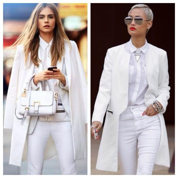 Cara Delevigne e  Carolina Kurkova adoram a tendência total white