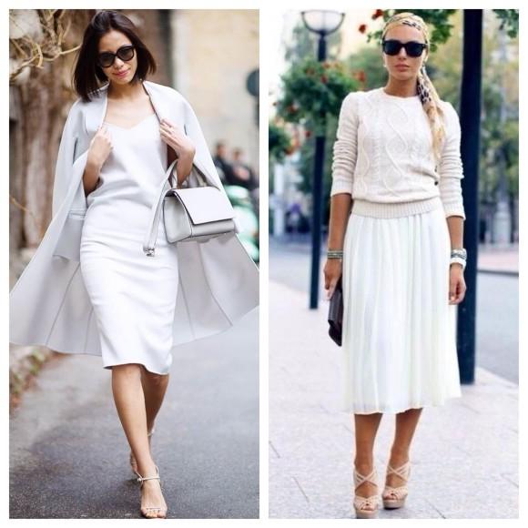 O branco também aparece nas saias midi