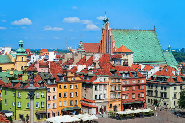 Building architecture in Castle Square in Warsaw in Poland