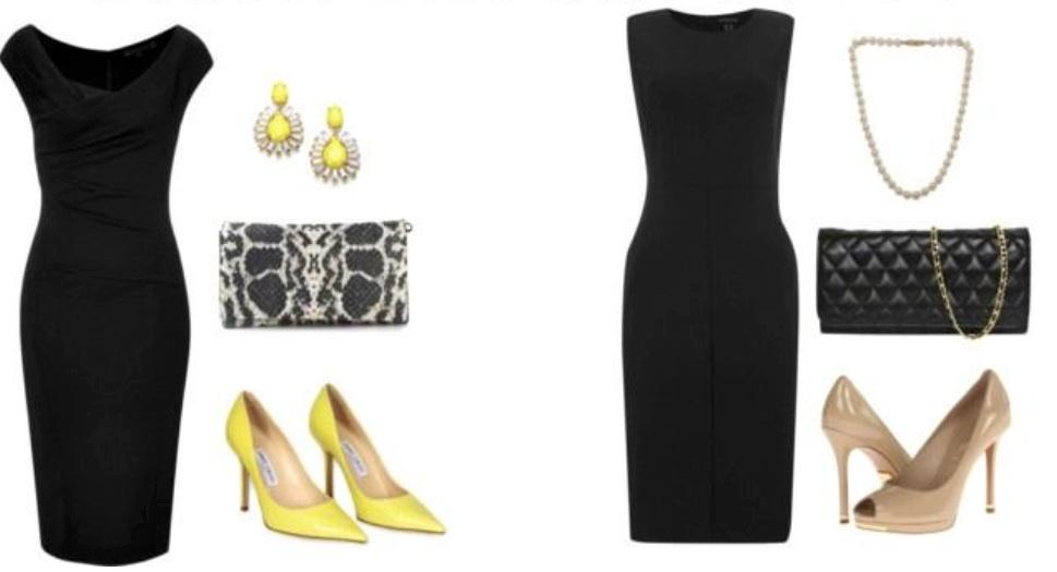 Com carteira snake e acessórios coloridos, um look sofisticado. Com carteira preta e sapatos nude, um look clássico