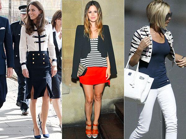 Kate Middleton, Rachel Bilson e Victoria Beckham apostam no navy para looks mais casuais.