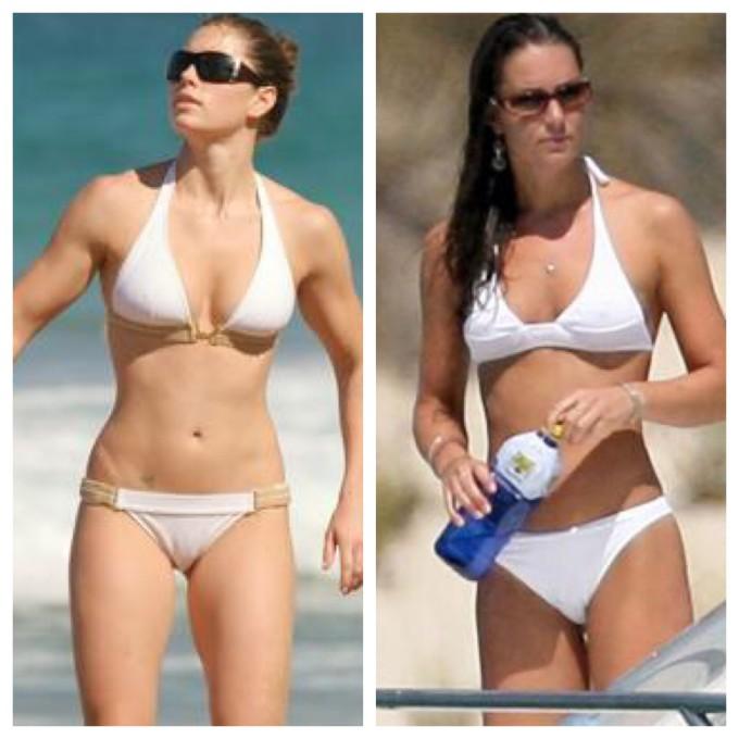 Jessica Biel e a duquesa Kate Middleton apostaram no branco para passar o dia na praia