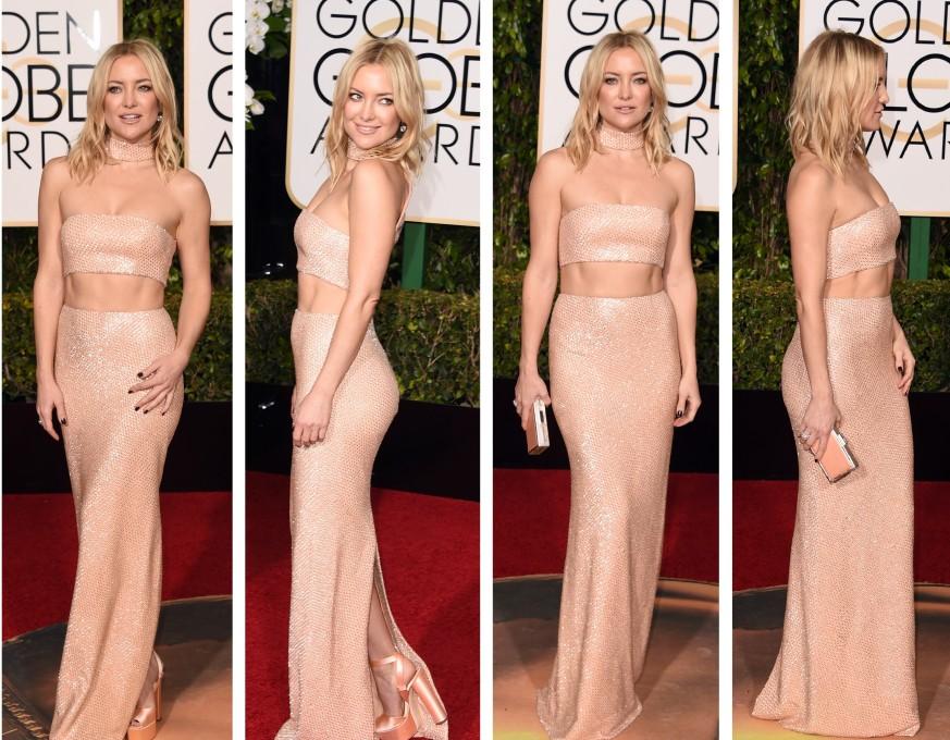 Kate Hudson mostra a boa forma no red carpet do Globo de Ouro 2016