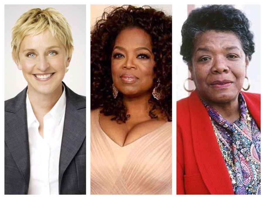 Ellen DeGeneres, Oprah Winfrey e Maya Angelou