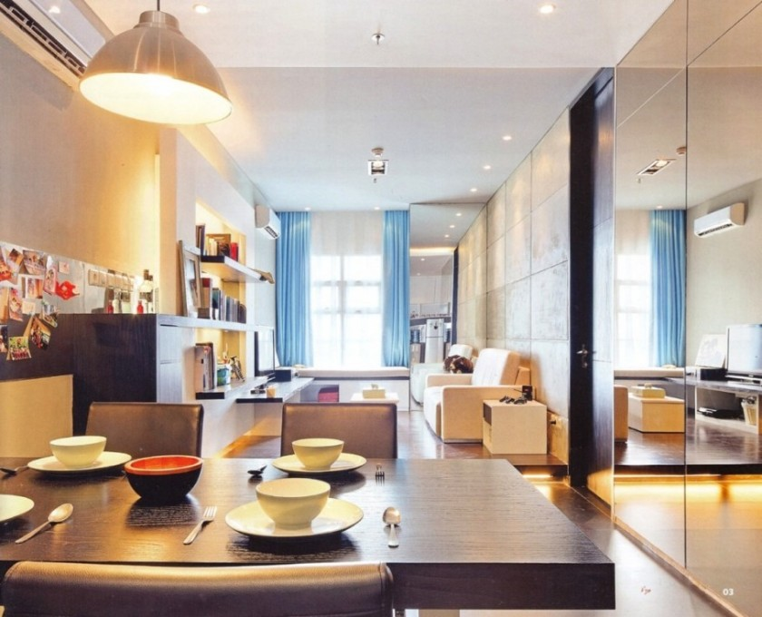 interesting-small-apartment-interior-designs-ideas-with-simple-small-kitchen-also-outstanding-floor-to-ceiling-wall-mirror-modern-wood-dining-table-and-chairs-wall-tv-unit-cabinet