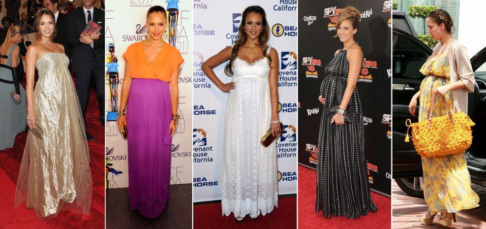 Jessica Alba sabe como arrasar com seus vestidos longos mais soltinhos