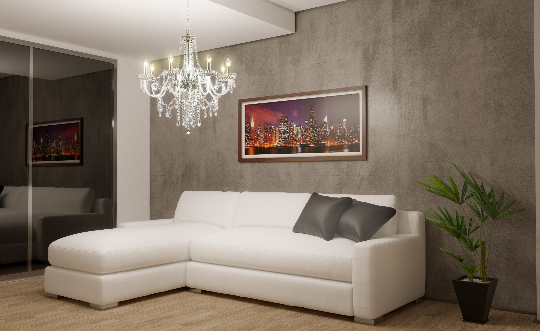 sala de estar e tv com efeito de cimento queimado 34a6 original #9B5C30 3000x1837 Banheiro Com Parede De Cimento Queimado
