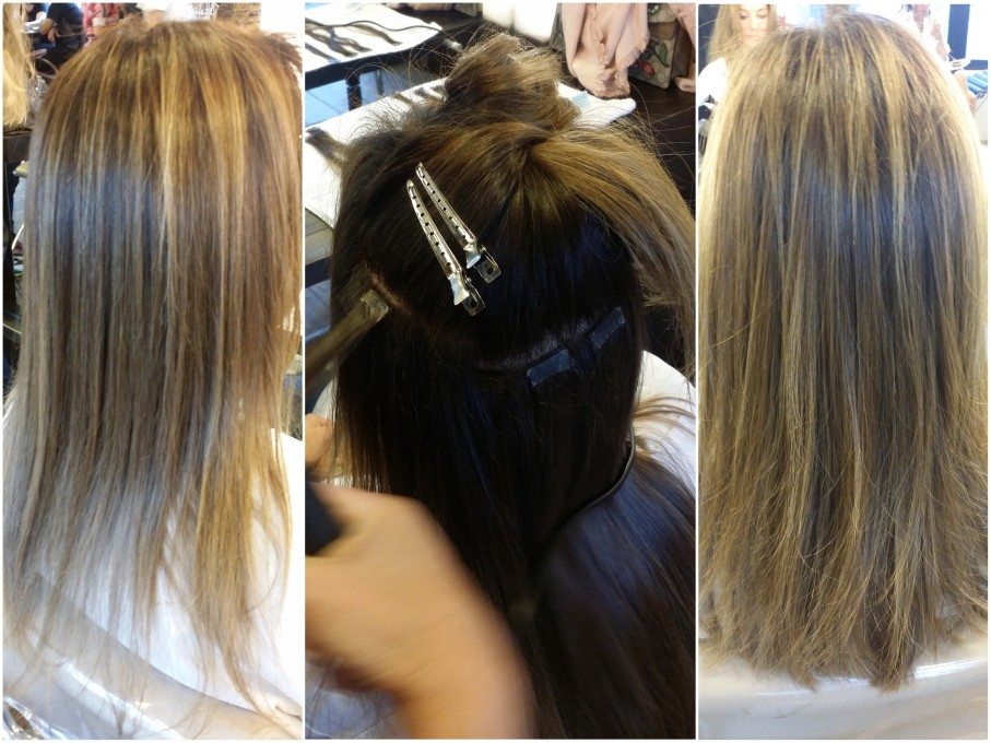 Antes, durante e depois do megahair em adesivo feito pela própria Zilda de Paula