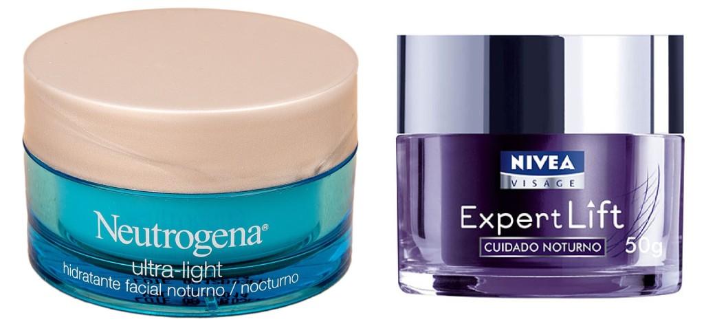 Hidratante Facial Neutrogena Noite Ultra Light, R$ 41,31 / Creme antienvelhecimento Nívea, R$73,20