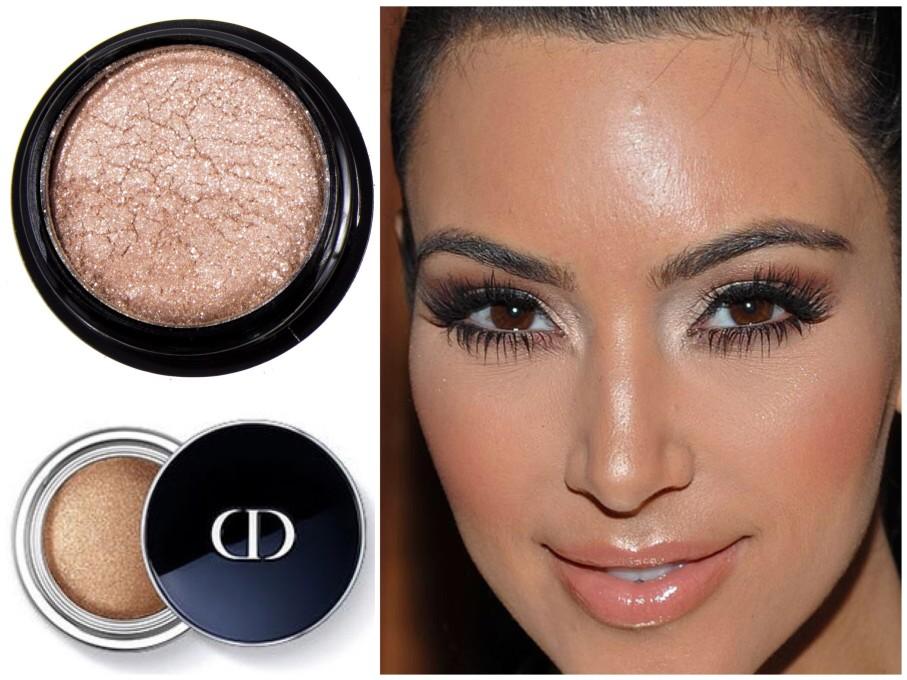 A sombra champanhe no canto interno dos olhos deu um efeito lindo na make de Kim Kardashian