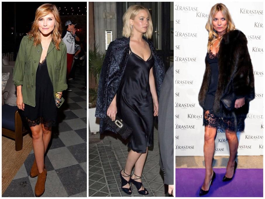 Slip dress em looks mais formais, como os de Sophia Bush, Jennifer Lawrence e Kate Moss