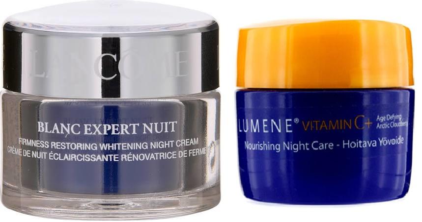 LANCÔME Blanc Expert Creme Noturno Clareador Firmness, R$ 45,00 / Creme para clarear manchas Lumene, R$ 45,90