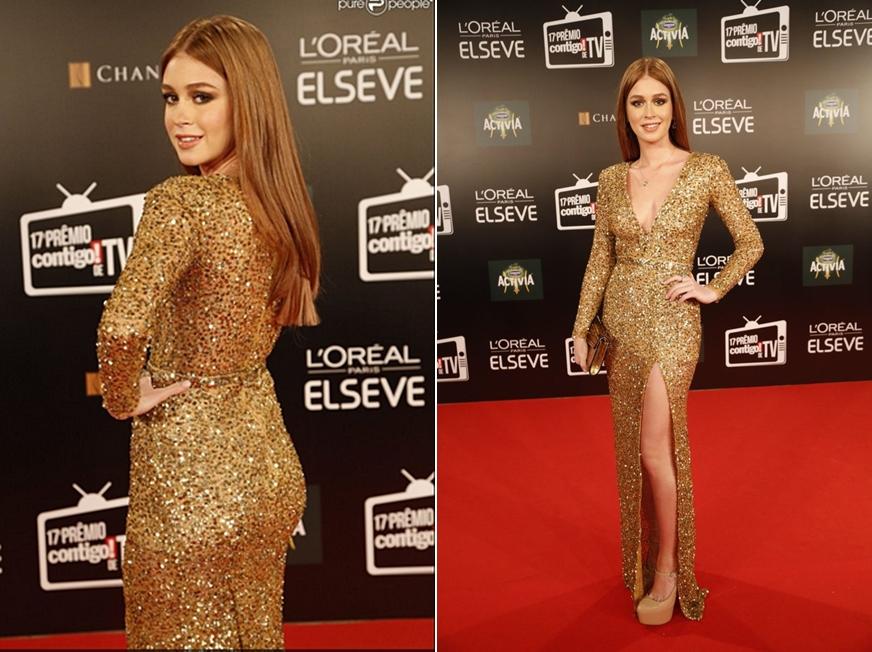 A leonina Marina Ruy Barbosa com um vestido dourado poderoso!