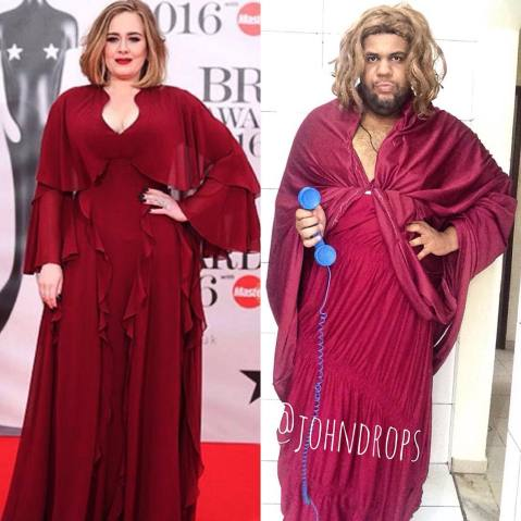 """Na cópia da cantora Adele teve até o telefone para fazer a referência com a música """"Hello"""""""