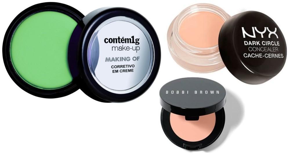 (Contém 1g – R$ 37,90 / Bobbi Brown Creamy Corrector – $ 30 / NYX Concealer in Pink – $ 110)