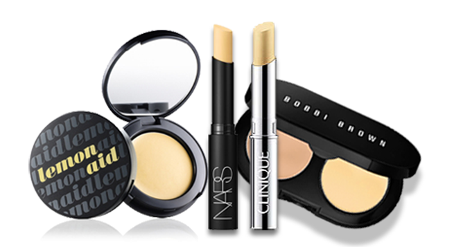 (Benefit Cosmetics Lemon Aid Concealer – $ 20/ NARS Concealer in Pale Yellow – $25 / Bobbi Brown Creamy Concealer Kit – $ 35 / Clinique Yellow Concealer – $ 30)