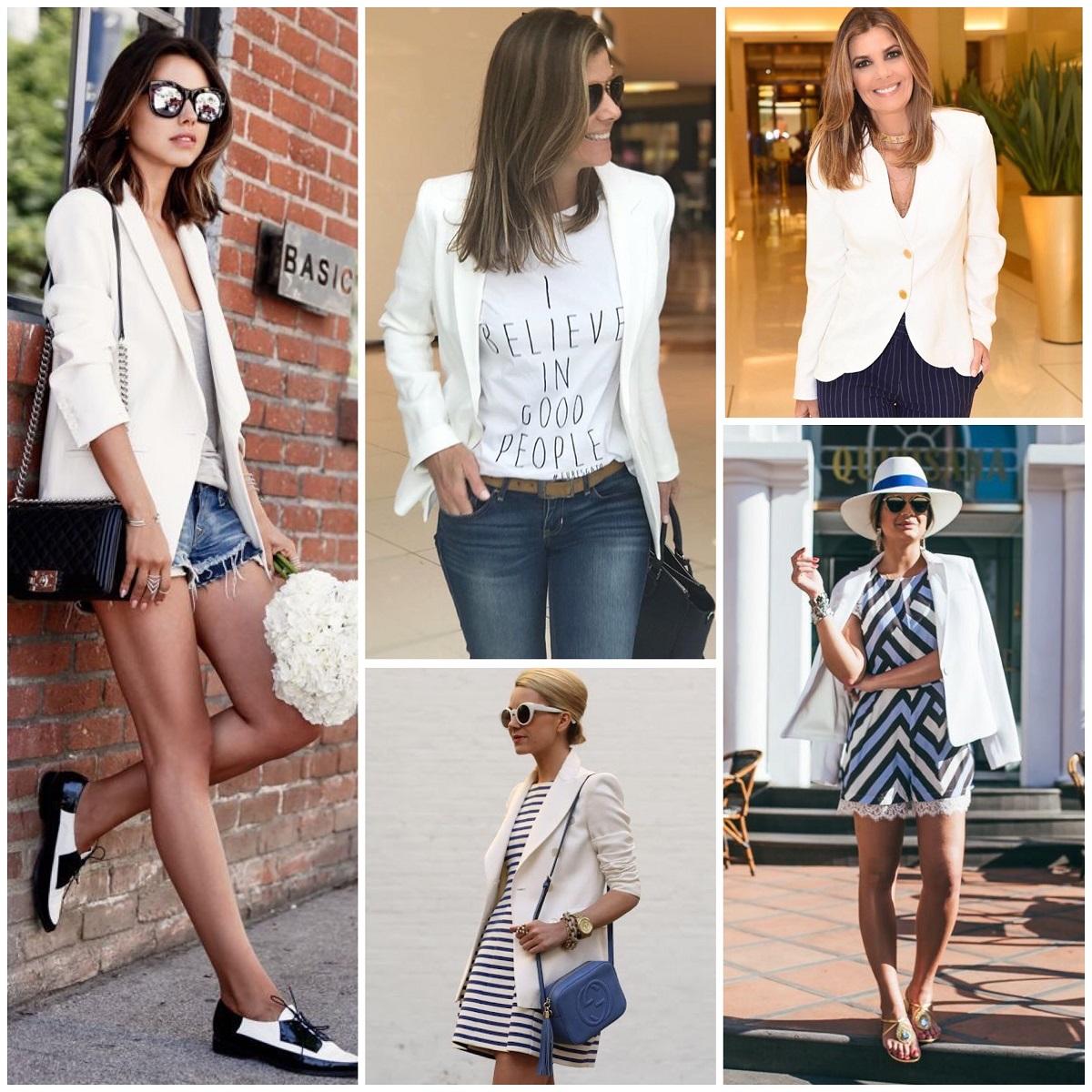 8431f62850 Com saias  O blazer branco pode ser usado no ambiente de trabalho com saias  midi ou lápis e até em momentos mais casuais