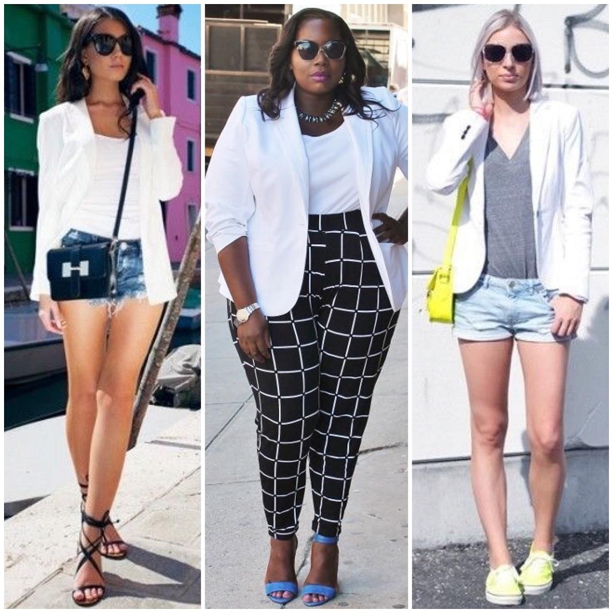 c469fe47c Com shorts: No verão, não tem dupla mais prática do que o blazer branco com  shorts – seja ele jeans, couro ou de alfaiataria. Num cinema, por exemplo,  ...