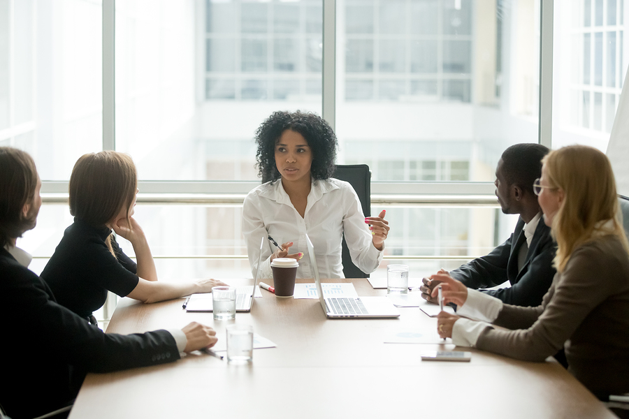 Black Female Boss Leading Corporate Multiracial Team Meeting Tal
